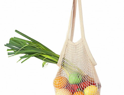 Net string shopping bag with long handle