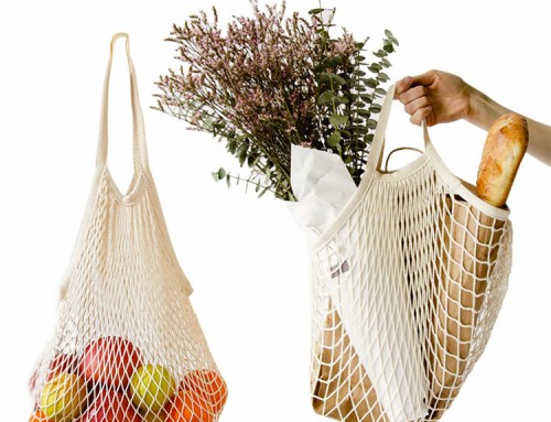 Natural organic cotton string handle bags