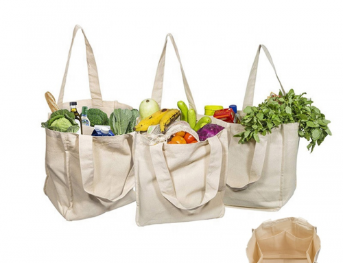 Reusable Cotton Canvas Grocery Shopping Tote Bags with multi-inner pockets